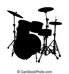 conjunto de tambor, silueta