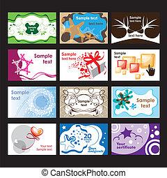 conjunto, de, tarjetas comerciales