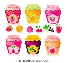 conjunto, de, tarros, con, fruta, y, baya, atasco