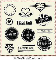 conjunto, de, te amo, vendimia, etiquetas