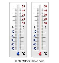 conjunto, de, termómetros