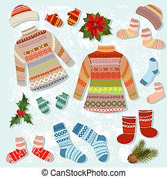conjunto, de, tibio, ropa de invierno