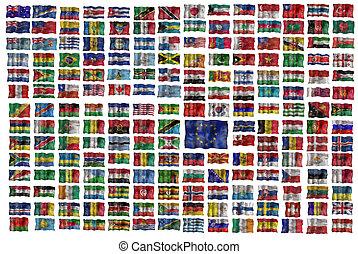 conjunto, de, todos, banderas