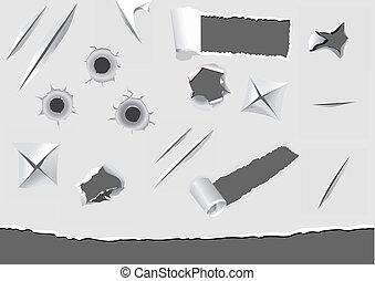 conjunto, de, torned, y, dañado, papel, elementos