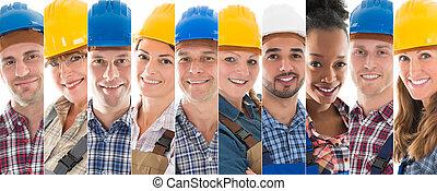 conjunto, de, trabajadores construcción