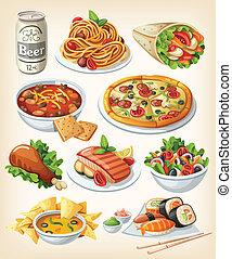 conjunto, de, tradicional, alimento, icons.