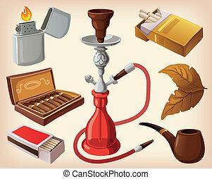 conjunto, de, tradicional, fumar, dispositivos