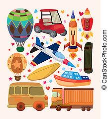 conjunto, de, transporte, iconos