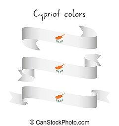 conjunto, de, tres, moderno, coloreado, vector, cinta, con, el, chipriota, colores, aislado, blanco, plano de fondo, resumen, chipriota, bandera, hecho, en, chipre, logotipo