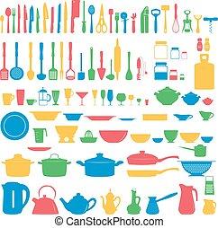conjunto, de, utensilios de la cocina