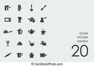 conjunto, de, utensilios de la cocina, iconos