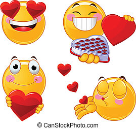conjunto, de, valentines, smileys, emoticon