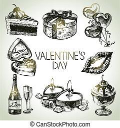 conjunto, de, valentino, day., mano, dibujado, ilustraciones