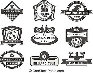 conjunto, de, vario, deportes y aptitud, emblema