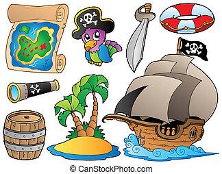 conjunto, de, vario, pirata, objetos