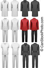 conjunto, de, vario, trabajo, clothes., vector, ilustración