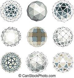 conjunto, de, vector, bajo, poly, esférico, objetos, con, conectado, líneas y puntos, 3d, geométrico, wireframe, shapes., perspectiva, trigonometría, faceta, orbes, creado, con, triángulos, cuadrados, y, pentagons.