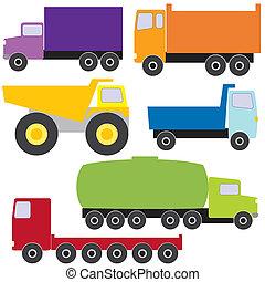 conjunto, de, vector, camiones