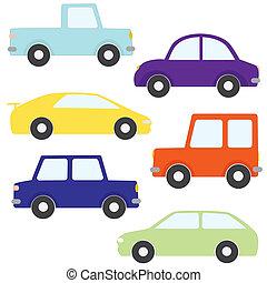 conjunto, de, vector, caricatura, coches