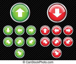 conjunto, de, vector, dirección, botones, con, arrows.,...
