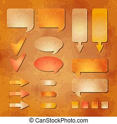 conjunto, de, vector, diseño telaraña, elementos, en, el, papel de kraft, plano de fondo