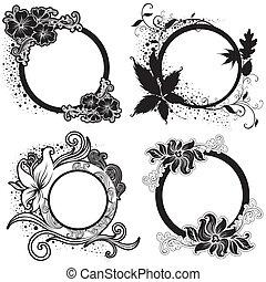 conjunto, de, vector, floral, vendimia, negro