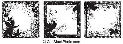 conjunto, de, vector, floral, vendimia, negro, marcos