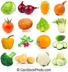 conjunto, de, vegetal, en, un, fondo blanco