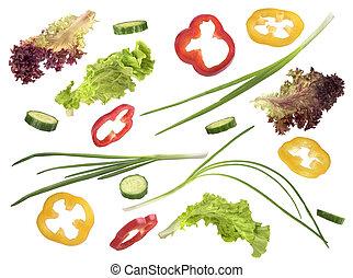 conjunto, de, vegetales, en, un, fondo blanco