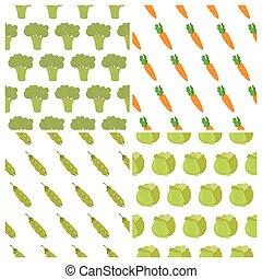 conjunto, de, vegetales, seamless, patterns., alimento sano, backgrounds., sabroso, vegetales, patrón, para, su, diseño