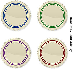 conjunto, de, vendimia, círculo, sellos