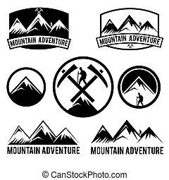 conjunto, de, vendimia, etiquetas, montaña, aventura