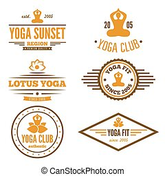 conjunto, de, vendimia, logotipo, insignia, emblema, o,...