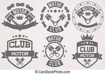conjunto, de, vendimia, motor, club, señales, y, etiqueta