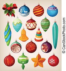 conjunto, de, vendimia, navidad, balls.