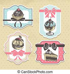 conjunto, de, vendimia, panadería, labels., vendimia, marcos, con, dulce, cupcakes