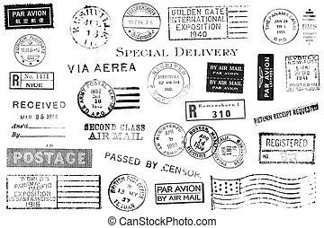 conjunto, de, vendimia, postal, marcas