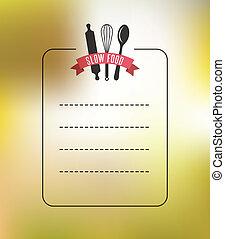 conjunto, de, vendimia, restaurante, y, fondo alimento