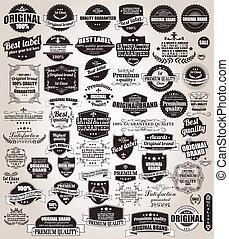 conjunto, de, vendimia, retro, etiquetas