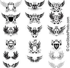 conjunto, de, vendimia, vector, escudo de armas