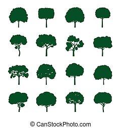 conjunto, de, verde, árboles., vector, illustration.
