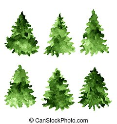 conjunto, de, verde, acuarela, spruces., árbol abeto, collection.