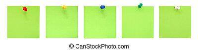 conjunto, de, verde, notas de papel