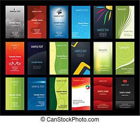 conjunto, de, verical, tarjetas comerciales
