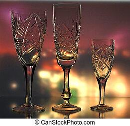 conjunto, de, vidrio, en, industrial, plano de fondo