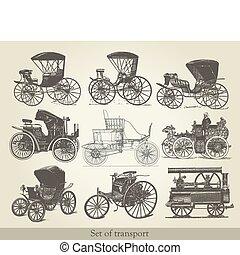 conjunto, de, viejo, coches
