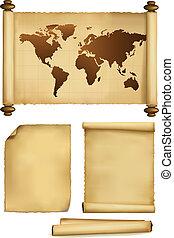 conjunto, de, viejo, papel, hojas, y, viejo, mapa
