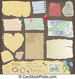 conjunto, de, viejo, papel, peaces, -, diferente, viejo, papel, objetos, vendimia
