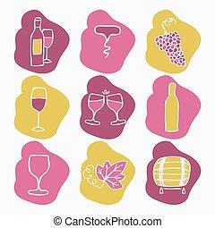 conjunto, de, vino, elaboración, iconos, vector, illustration.