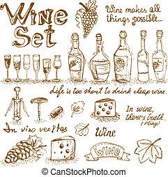 conjunto, de, vino, elementos